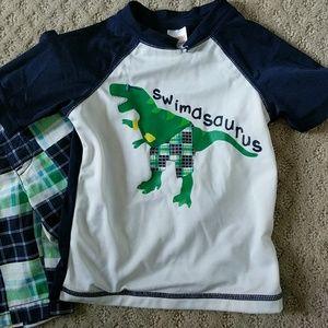 Swim Dinosaur Rashguard and Shorts